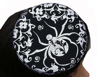 Gothic Pillbox Hat Mini Silver Metallic Spider Retro Goth