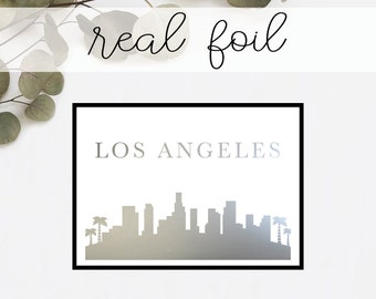 Los Angeles Skyline Print // Real Gold Foil // Minimal // Gold Foil Art // Home Decor // Modern Office Print // Typography // Fashion Print