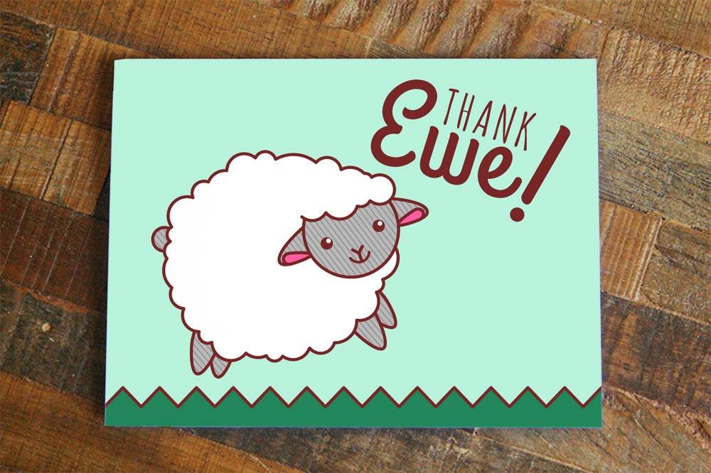 il_fullxfull.841718698_enny?version=0 thank ewe thank you card cute sheep art card animal pun