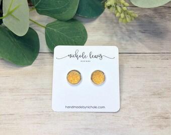 Honey Druzy Stud Earrings