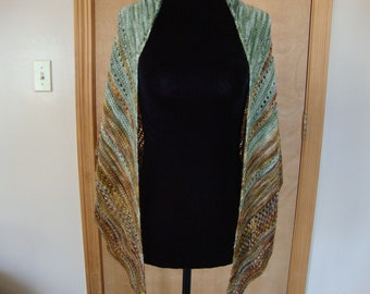Lace Knit Half Moon Med Wrap Peridot and Bronze
