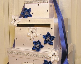 Wedding Card Box White and  Royal Blue Gift Card Box Money Card Box Holder-Customize Your Color