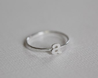 dainty initial ring, letter ring, monogram ring - sterling silver ring