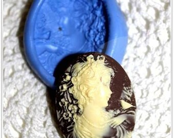 Woman with flowers 36mm cameo silicone mold