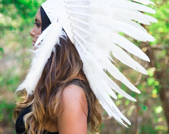 The Original - Real Feather All White Chief Indian Headdress Replica 65cm, Native American Style Costume Hand Made War Bonnet Hat
