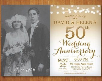 50th Wedding Anniversary Invitation with Photo. Gold and White. String Lights. Golden Fifty Wedding. Printable Digital.