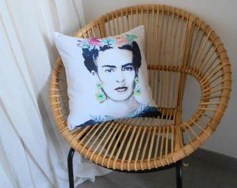 """Housse de coussin motif Portrait """"Frida Kahlo""""  No 4"""