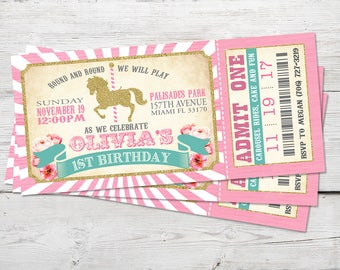 Carousel Birthday Invitation, Carousel Party, Carousel Invitation, Carousel Birthday, Merry Go Round Invitation, Carousel Birthday Invite