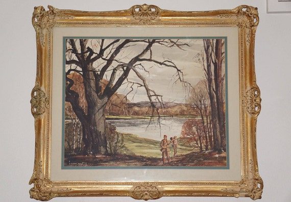 Vintage H Gilbert Foote Hunters Textured Lithograph Ornate Gesso Frame