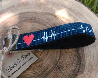 EKG Heartbeat Key Fob Wristlet Heart - Scout and Remy, Cardio, Cardiac, Cath lab,OT, RN, Nurse Gift
