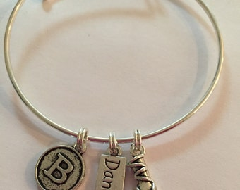 Personalized dance bracelets on an adjustable wire bracelet - great gift for your dancer!