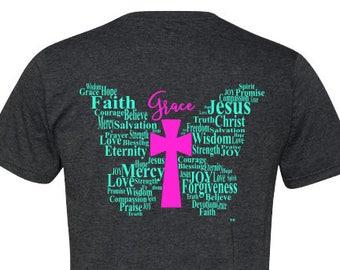 Christian Shirt for Women,  Grace Shirt for Women, Butterfly Shirt for Women, Christian TShirt, Gifts for Her, Faith Shirt, Christian Gift