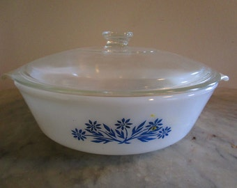 Fire King Blue Corn Flower Lidded Casserole Dish, 2 Qt., FireKing 438, Anchor Hocking Baking Dish with Lid