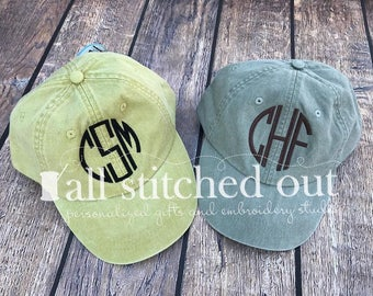 Monogrammed Hat - Basic Circle Monogram - Personalized Ball Cap - Monogrammed Ball Cap - Personalized Hat - Pigment Dyed Hat - Beach Hat