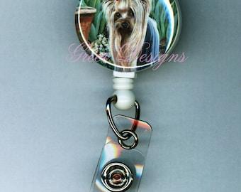 Yorkshire Terrier in Tulip Garden Yorkie Retractable Badge Holder Reel Clip Gift