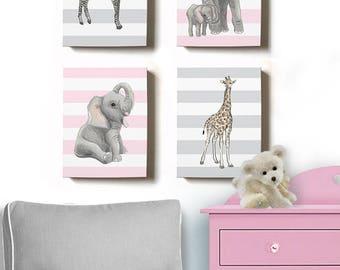 Baby Girl Nursery Decor Watercolor Animal Canvas Wall Art, Set of 4 Canvas Art  - Safari Room Decor - Elephant, Giraffe, Zebra Nursery Decor