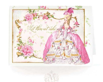 Marie Antoinette card, let them eat cake, birthday card, card for her, pink roses, macarons, all occasion card