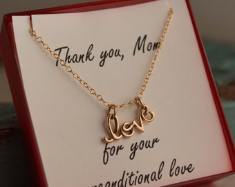 Mother's Day Necklace - Mom I love you - Gift for Mom - Sterling Silver or Gold Filled - Thank you for you unconditional Love
