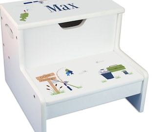 Personalized Gone Fishing Childrens Step And Storage Stool