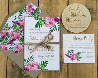 Tropical wedding invitations - destination Wedding Invitations SAMPLE