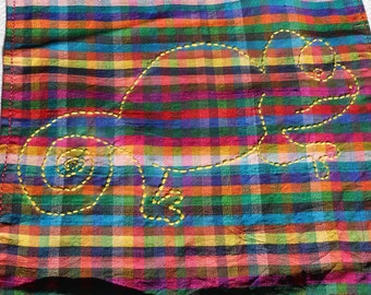 Embroidery Chameleon Plaid scarf