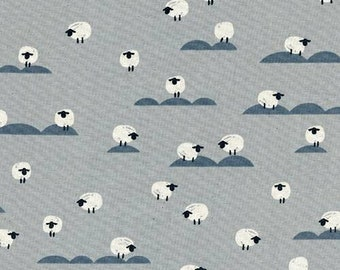 Cotton + Steel Panorama Cloud  - Sheep in Newspaper - Gray Sheep Fabric - Farm Animal Fabric - Unbleached Quilting Cotton - By the Yard