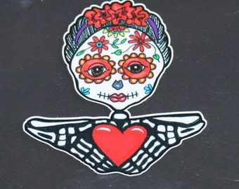 Day of the Dead Woman with Heart in Hands Vinyl Sticker   #115
