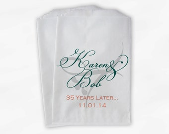 Anniversary Candy Buffet Treat Bags Personalized in Teal and Coral - Wedding Anniversary Custom Paper Favor Bags (0042)