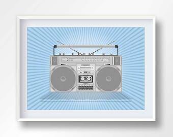 BOOMBOX poster, vintage boom box, 80s music illustration, retro stereo, old school cassete, hip hop printable, ghettoblaster, #2145