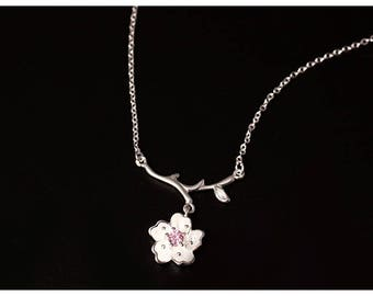Bloom - Sterling Silver Single Blossom Necklace Floral Pendant Adjustable Necklace Beautiful Design-Free Gift Box