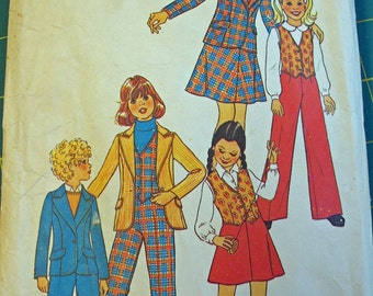 Vintage Simplicity pattern Girls size 10 Jacket, Vest, Pants and Skirt 1976