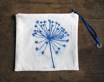 Zip pouch Dandelion, French antique metis linen, Original Etching, Zippered Pouch, white and blue