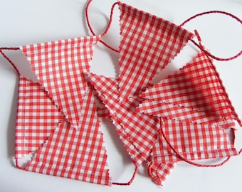 """Fabric bunting """"Little Red Riding Hodd"""" . Party theme. Red gingham fabric."""