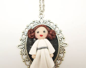 "Necklace Cabochon Kawaii Baroque ""Leia"" Fimo"
