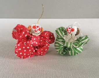 Vintage Christmas Tree Ornaments - Clowns -  Vintage Paper Ornaments - Circus Clown Ornaments - Happy Clowns - Flying Clowns
