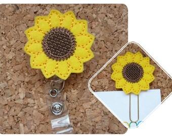 Sunflower Badge Reel, Felt Badge Reel, Retractable Name Holder, Planner Clip, Magnet, Brooch Pin, Bookmark, Gifts for Nurses, 403