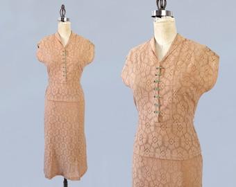 RARE 1930s Suit! / 30s Two Piece Lace Suit Dress / Deco Green Buttons / Spiderweb Pattern