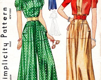 1940s Style Jump Suit Palazzo Pants Beach Pajamas Custom Made in Your Size From a Vintage Pattern