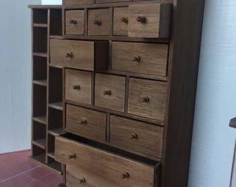Dollshouse miniature furniture, miniature chest of drawers, dollshouse drawers, furniture one inch 1:12 scale
