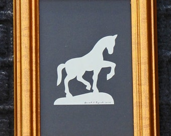 Horse - Scherenschnitte - Hand Paper Cutting Art signed and dated By Janet Lynch -4x6 Framed