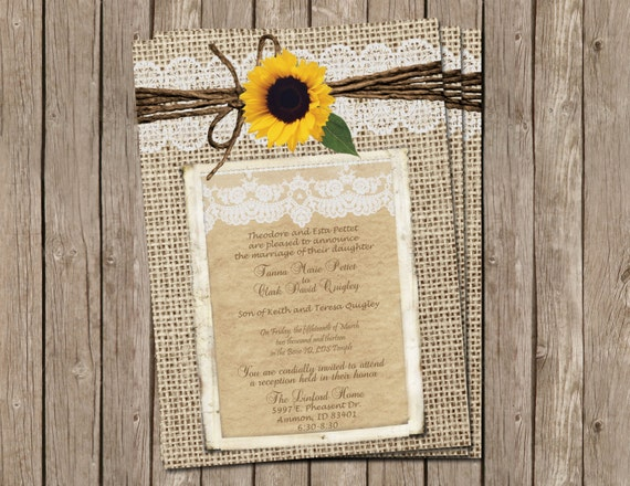 Wedding Invitations With Burlap: Burlap And Lace Wedding Invitation Sunflower Digital File