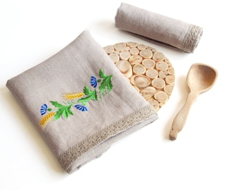 Natural Linen Tea Towel, Embroidered Floral handtowel, Handmade, Ethnic Pattern, Grey, 100% Pure Linen Guest Towel, eco-friendly Gift
