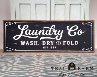 Laundry Co Wash Dry and Fold PERSONALIZED Sign -- Farmhouse Magnolia Fixer Upper Joanna