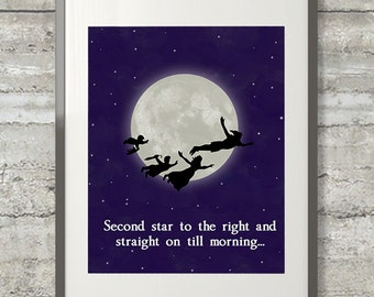 Peter Pan Art, Second Star To The Right And Straight On Till Morning 11x14 Print