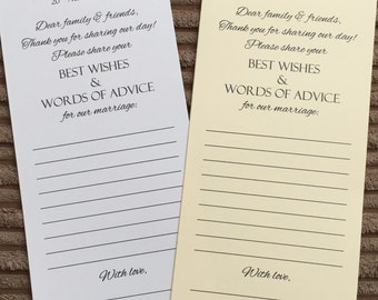 Wedding Words of Wisdom Cards / Scrolls Advice Favour Guest
