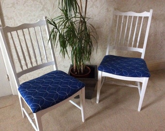 Set of 4 Blue and White Upcycled Dining Chairs COLLECTION ONLY