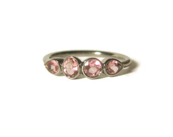 Pink Tourmaline Sterling Silver Ring, Gemstone Band, 4 Stone Ring, Made to Order