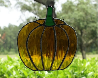 Pumpkin Suncatcher in Amber Waterglass, Number 2