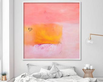Modern print of abstract painting coral pink yellow canvas large wall art nursery decor bedroom art by Duealberi Italy