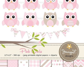 50% OFF Pink Owls Clipart and Digital Papers Set, Pastel Baby Shower Stitched Owls, Tree Branch, Birthday Invitation Nursery Digital Scrapbo